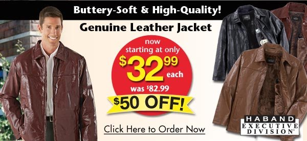 Genuine Leather Jacket $32.99 each