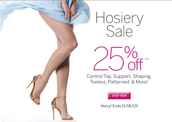Save 25% on Silkies Hosiery (some exclusions apply). Plus receive free standard shipping on all orders of $40 or more.