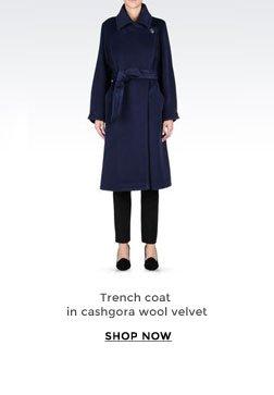 Trench coat in cashgora wool velvet