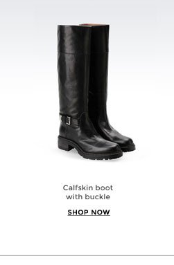 Calfskin boot with buckle