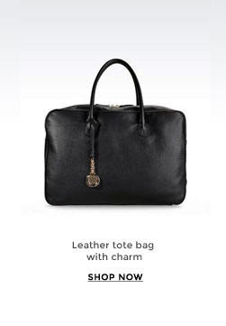 Leather tote bag with charm