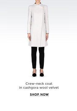 Crew-neck coat in cashgora wool velvet