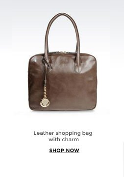 Leather shopping bag with charm