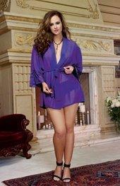 Women's Plus Size Lingerie - Chiffon & Stretch Lace Kimono w/ Panty