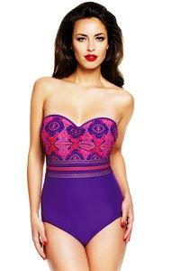 Panache Savannah Purple Print Bandeau Swimsuit