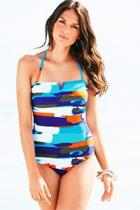 Blue Colour Splash Swimsuit