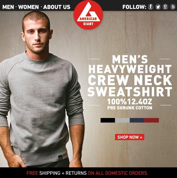 Men's Heavyweight Crew Neck Sweatshirts Now Available!
