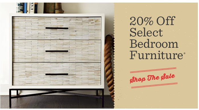 20% Off Select Bedroom Furniture*. Shop The Sale.