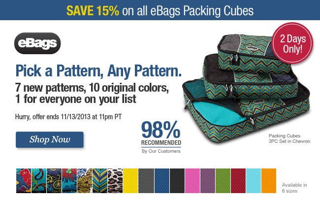 Save 15% on All eBags Packing Cubes. Shop Now.