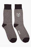 KENZO Black & Grey Embroidered Tiger Socks for men