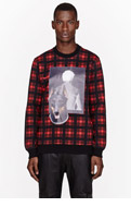 GIVENCHY Red Plaid Man & Dog print t-shirt for men