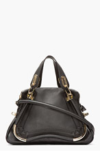 CHLOE Black Leather Medium Paraty Shoulder Bag for women