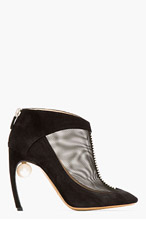 NICHOLAS KIRKWOOD Black suede & pearl Boots for women