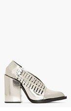 JIL SANDER Silver Leather Cut-Out Runway Heels for women