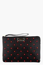 MARC JACOBS Black leather red-STUDDED The Deluxe clutch for women