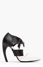 PROENZA SCHOULER Black & white leather ankle bow D'Orsay Horn Heels for women
