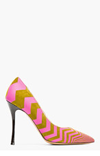 NICHOLAS KIRKWOOD Olive And Pink Zig Zag Pumps for women