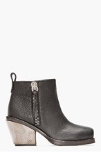 GIUSEPPE ZANOTTI Black leather armoured heel Sidney boot for women