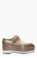 DAMIR DOMA Olive & Copper leater Falka Platform Flats for women