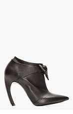 PROENZA SCHOULER Black leather Bow Horn Heeled Ankle boots for women