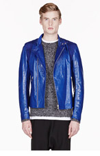 ALEXANDER MCQUEEN ROYAL BLUE LEATHER & suede BIKER Jacket for men