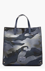 VALENTINO BLUE & black leather-paneled CAMOUflage TOTE for men