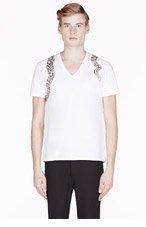 ALEXANDER MCQUEEN White & brown SNAKE HARNESS T-SHIRT for men