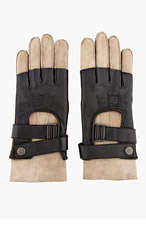 BALMAIN Black shearling & leather TWO-TONE GLOVES for men