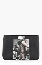 GIVENCHY Black Male nude & orchid print iPad pouch for men