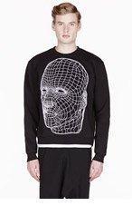 CHRISTOPHER KANE Black Netting FACE embroidered CREWNECK for men