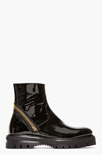 VERSACE Black PATENT LEATHER wrap-zip BOOTs for men