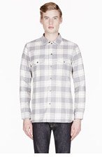 WINGS + HORNS Grey FLANNEL plaid ZIP UP SHIRT for men
