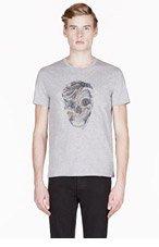 ALEXANDER MCQUEEN Grey SNAKE & SKULL print T-SHIRT for men