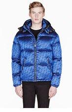 VERSUS Blue sheen logo-patterned quilted JACKET for men