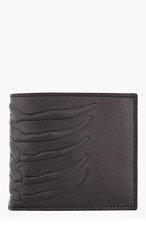 ALEXANDER MCQUEEN Black leather rib and vertebrae wallet for men