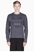 KENZO Charcoal grey slub tiger-embroidered sweatshirt for men