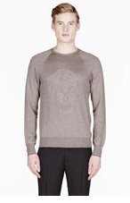 ALEXANDER MCQUEEN Brown RICE STITCH Embroidered skull sweater for men