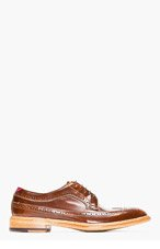 PAUL SMITH Brown leather LINCOLN longwing brogues for men