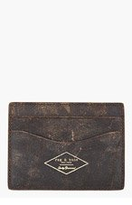 RAG & BONE Brown leather weathered HAMPSHIRE card HOLDER for men