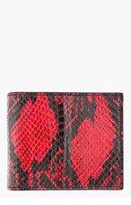 ALEXANDER MCQUEEN Red & black snakeskin MONEY CLIP wallet for men