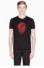 ALEXANDER MCQUEEN Black PYTHON & SKULL embroidered T-SHIRT for men