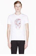 ALEXANDER MCQUEEN White SNAKE & SKULL print T-SHIRT for men