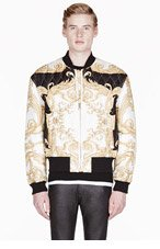 VERSACE Black & gold silk quilted bomber jacket for men
