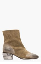 GIUSEPPE ZANOTTI Khaki suede Armored-heel boots for men