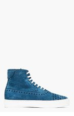 ALEXANDER MCQUEEN Blue Suede perforated high-top sneakers for men