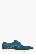 PS PAUL SMITH Blue & yellow nubuck McROY brogues for men