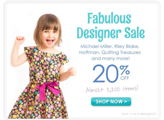 20% off in our Fabulous Designer Sale