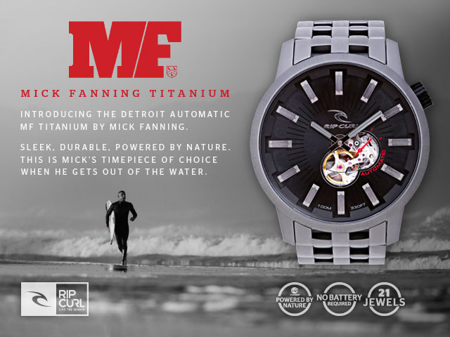 Introducing the Detroit Automatic MF Titanium by Mick Fanning. Sleek, durable, powered by nature. This is Mick's timepiece of choice when he gets out of the water.