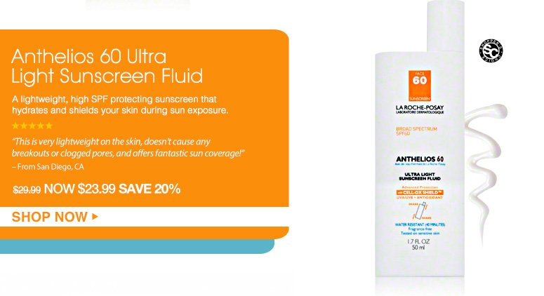 """Shopper's Choice. 5 Stars Anthelios 60 Ultra Light Sunscreen FluidA lightweight, high SPF protecting sunscreen that hydrates and shields your skin during sun exposure. """"This is very lightweight on the skin, doesn't cause any breakouts or clogged pores, and offers fantastic sun coverage!"""" – From San Diego, CA$29.99Shop Now>>"""