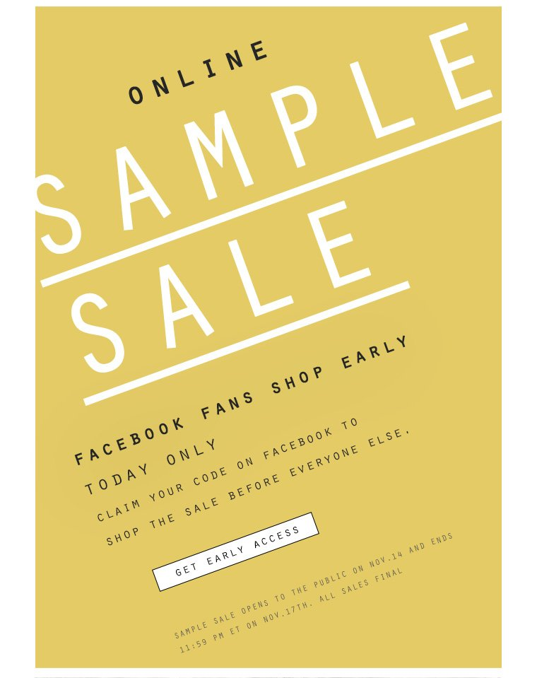 Shop sample sale early access